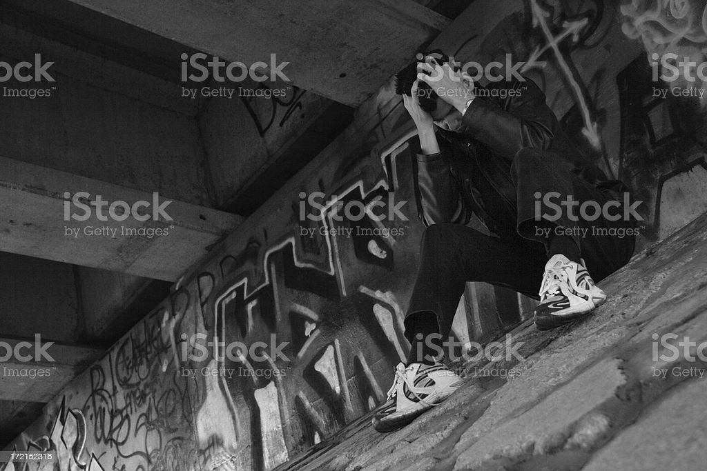 Depression In Black and White royalty-free stock photo