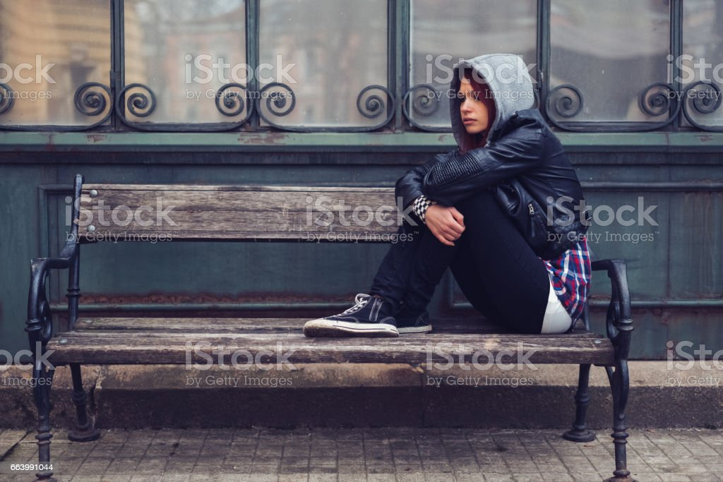 Depression in teenage girls stock photo