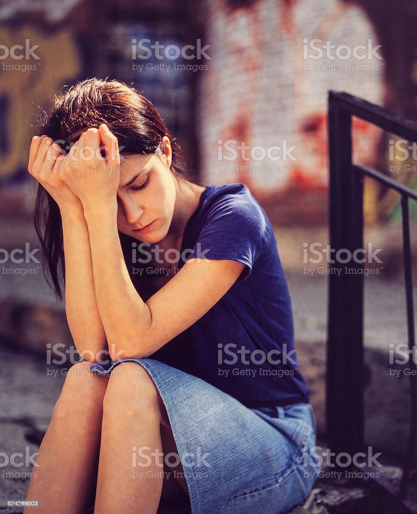Girl outside - copyspace