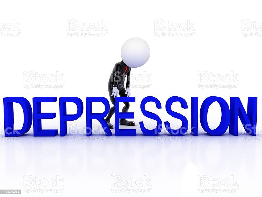 Depression man sad on white background royalty-free stock photo