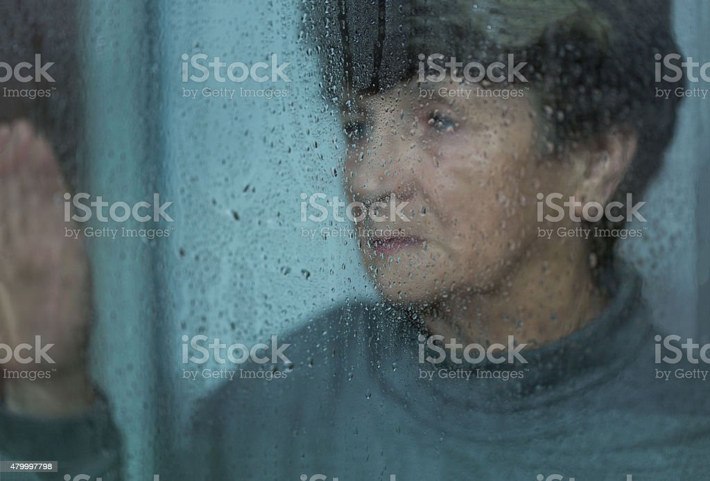 Depression of elderly women stock photo