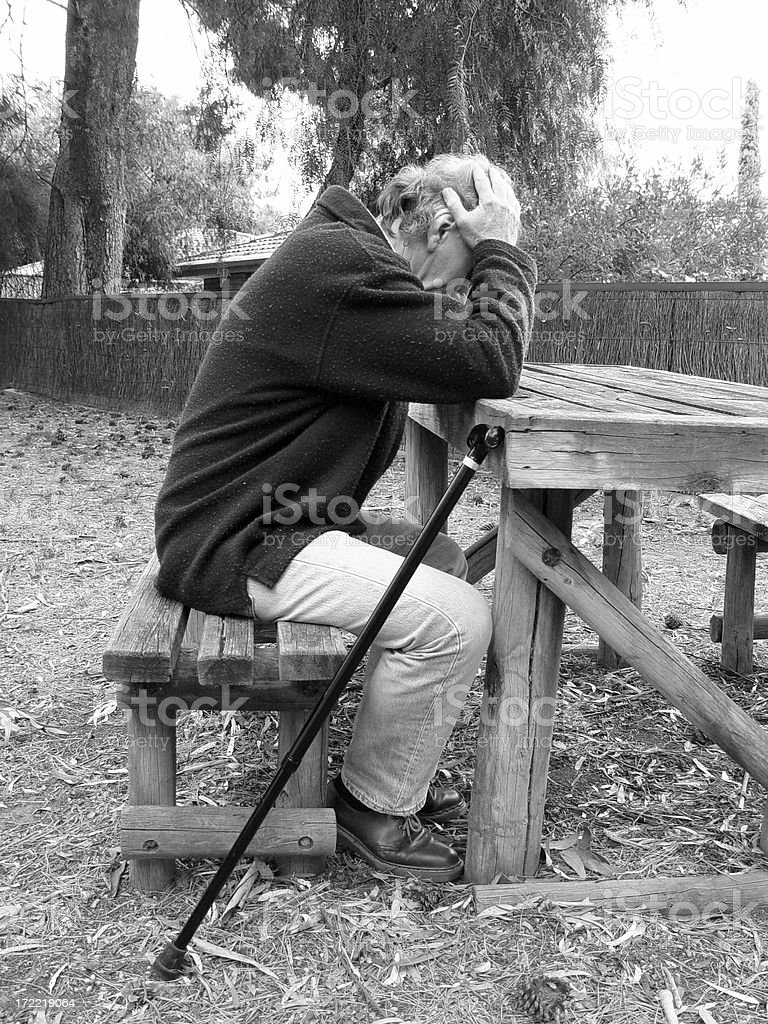 Depression ... or is it just fatigue? Black and white royalty-free stock photo
