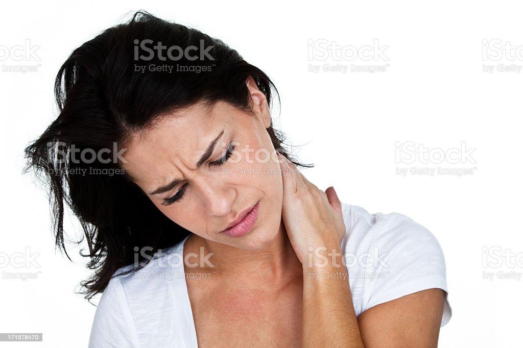 Depression or neck pains stock photo