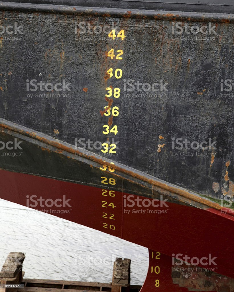 Depth indication  markings on the side of a ship stock photo
