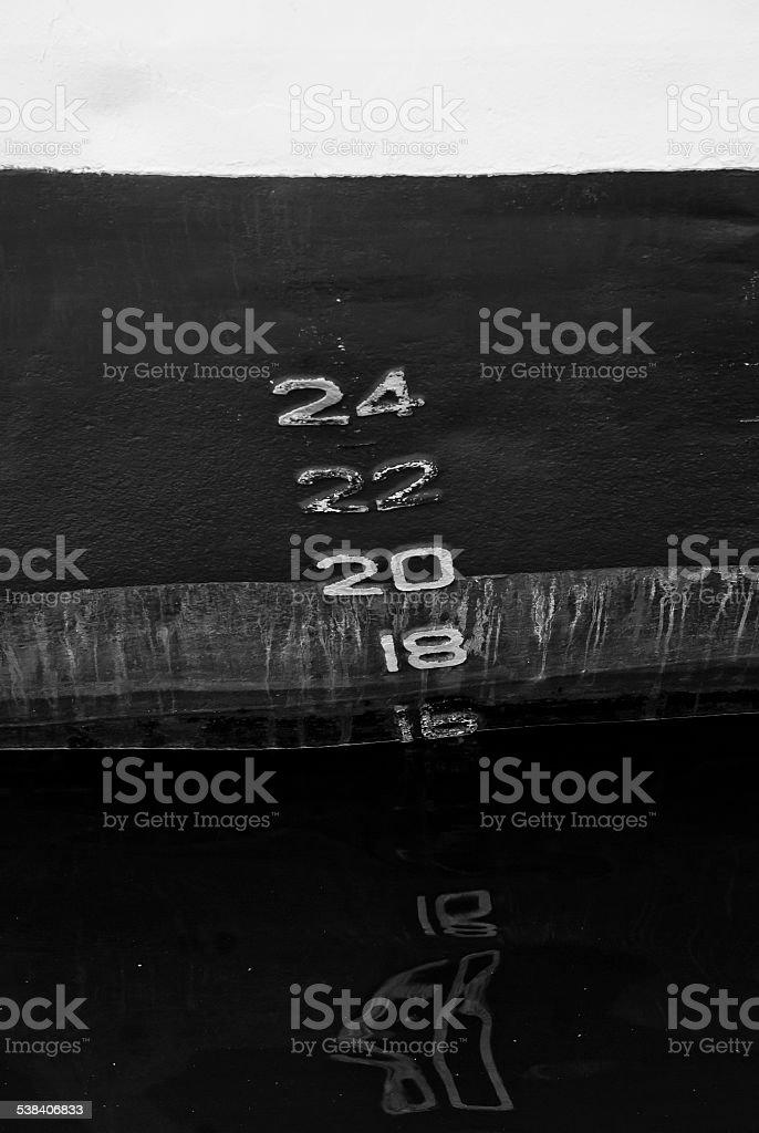 Depth markers stock photo