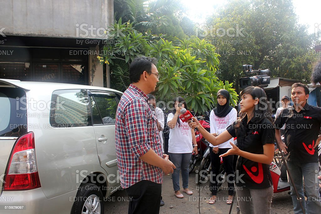 Deputy Governor of Jakarta Interview to Media stock photo