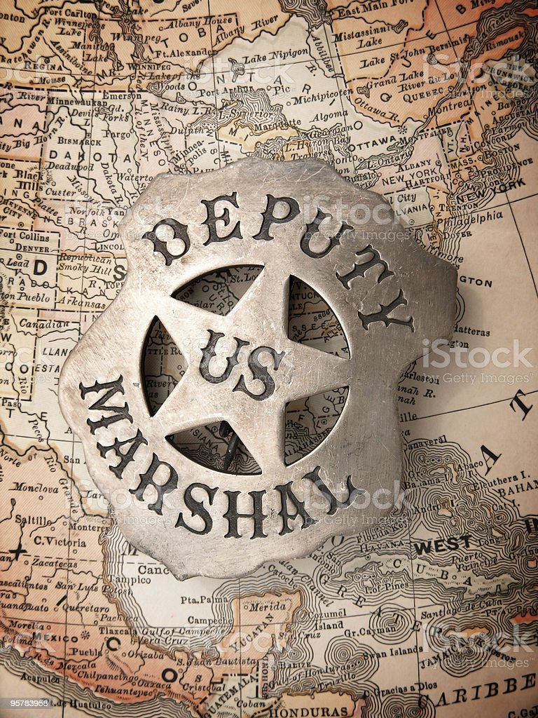 Deputy US Marshal Badge on Map stock photo