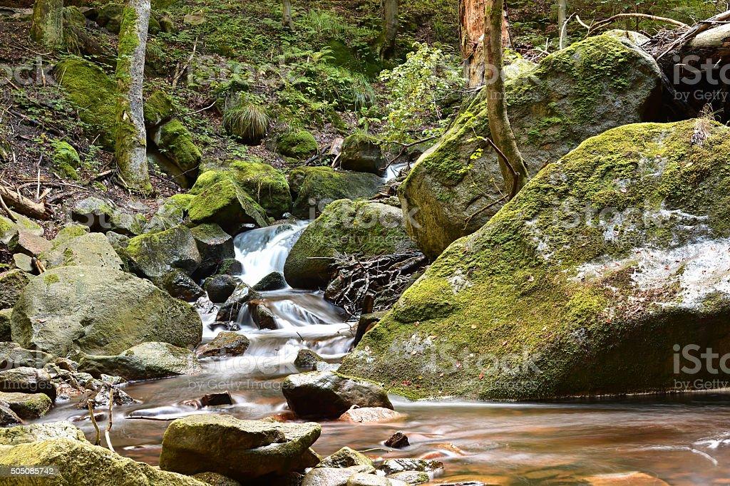 Der Fluss Ilse bei Ilsenburg stock photo