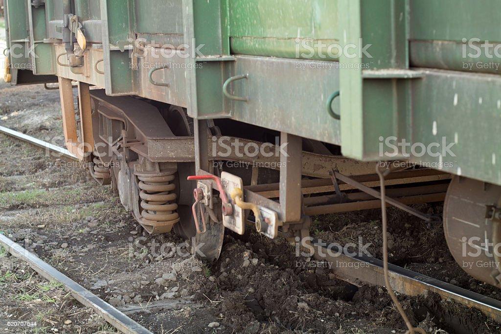 Derailed waggon stock photo