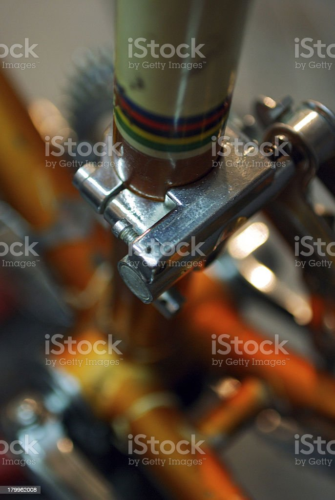 deraileur clamped to seat tube stock photo
