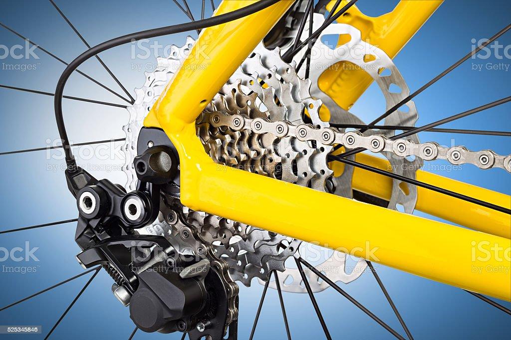 derailleur mechanism closeup stock photo