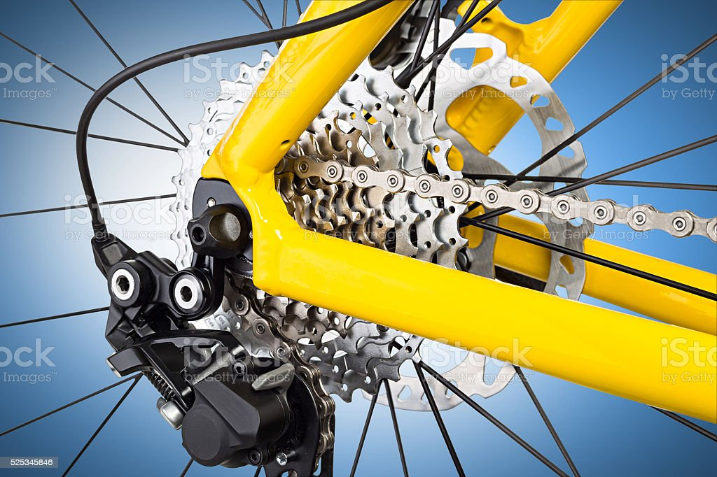 derailleur mechanism closeup stock photo