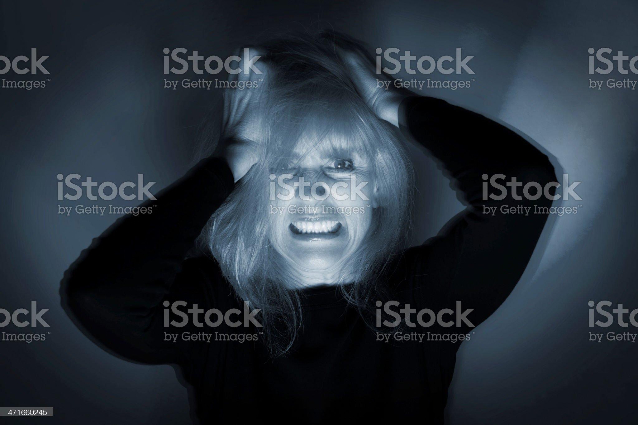 Deranged Mentally Ill Woman royalty-free stock photo