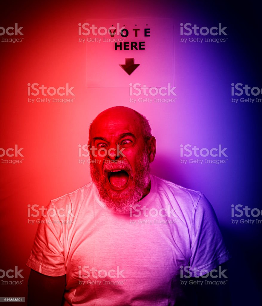 Deranged Shrieking USA Independent Voter Senior Man stock photo