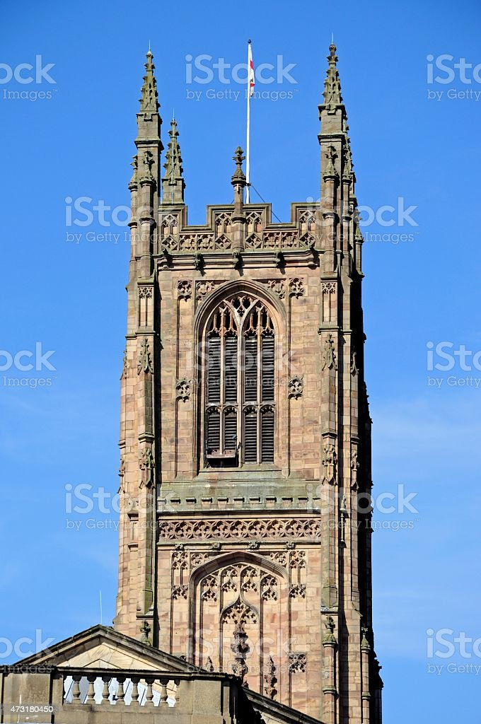 Derby Cathedral tower. stock photo