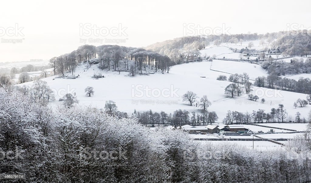 Derbyshire in the snow stock photo