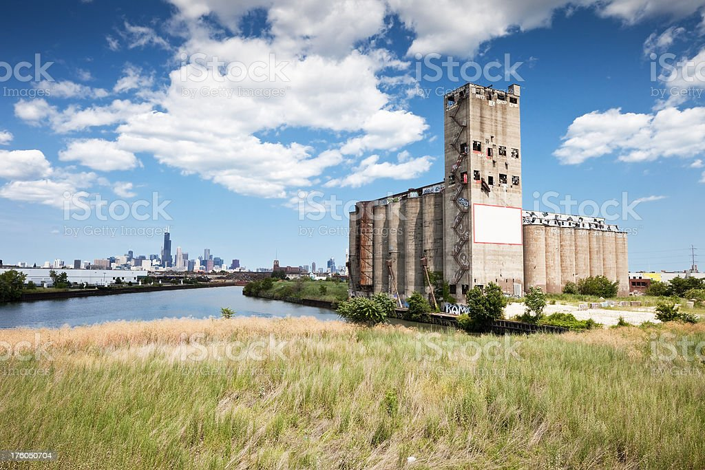 Derelect Chicago Factory and Sears Tower stock photo