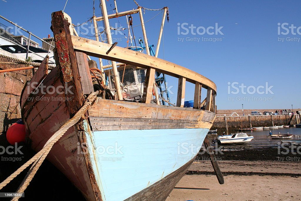 Derelict boat in Jersey royalty-free stock photo