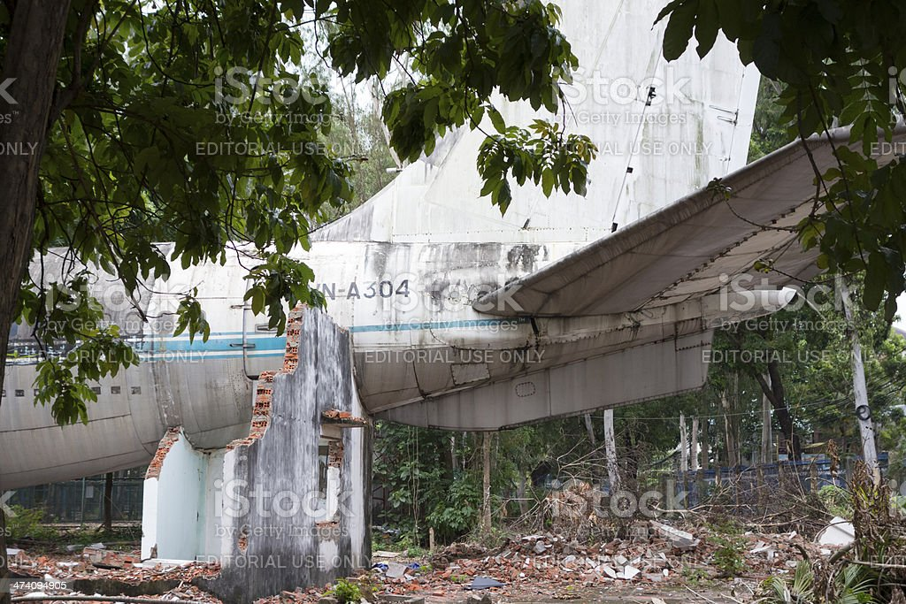 Derelict Boeing 707 tail section stock photo
