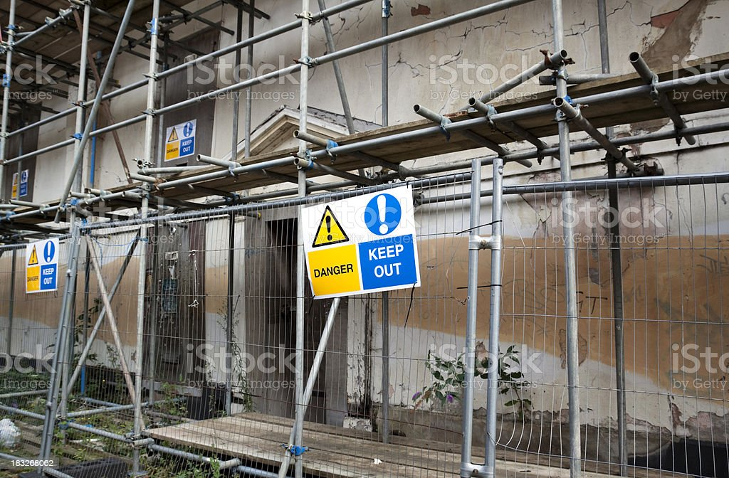 Derelict building - keep out! royalty-free stock photo