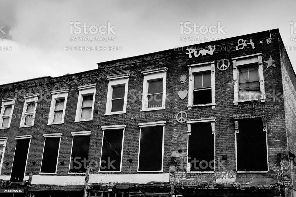 Derelict buildings Camden stock photo