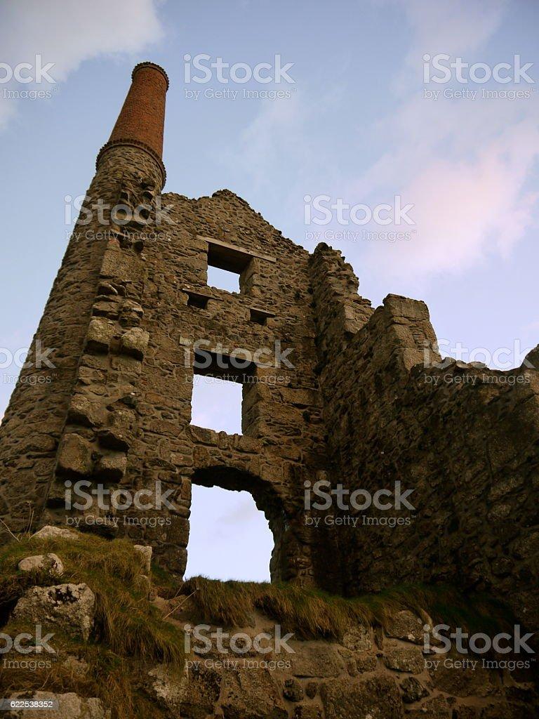 Derelict buildings Cornish tin mines; Tin mining history. stock photo