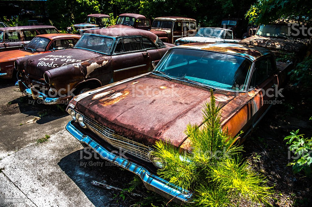 Derelict Classic American Cars stock photo