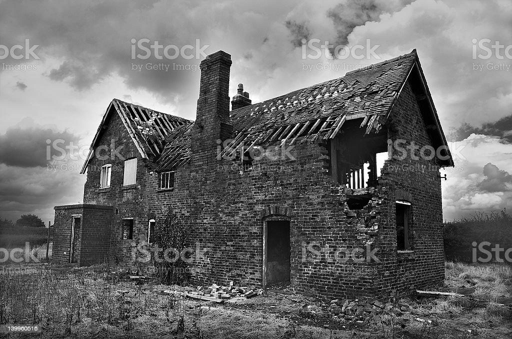 Derelict farmhouse stock photo