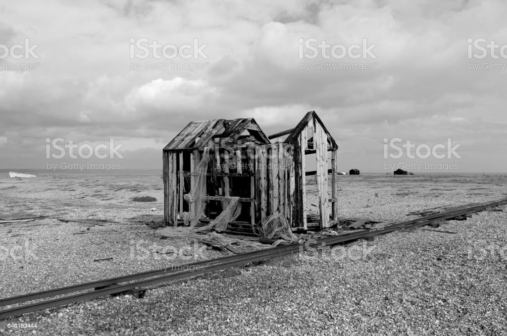 Derelict fishing hut stock photo