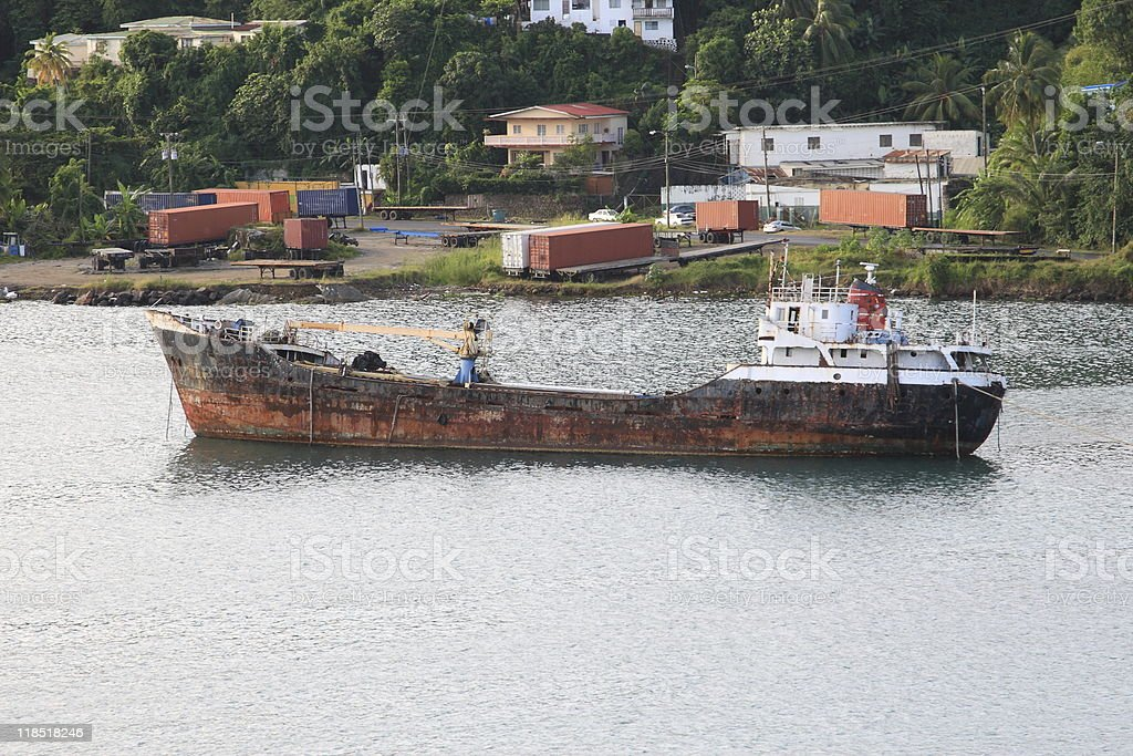 Derelict Freighter royalty-free stock photo