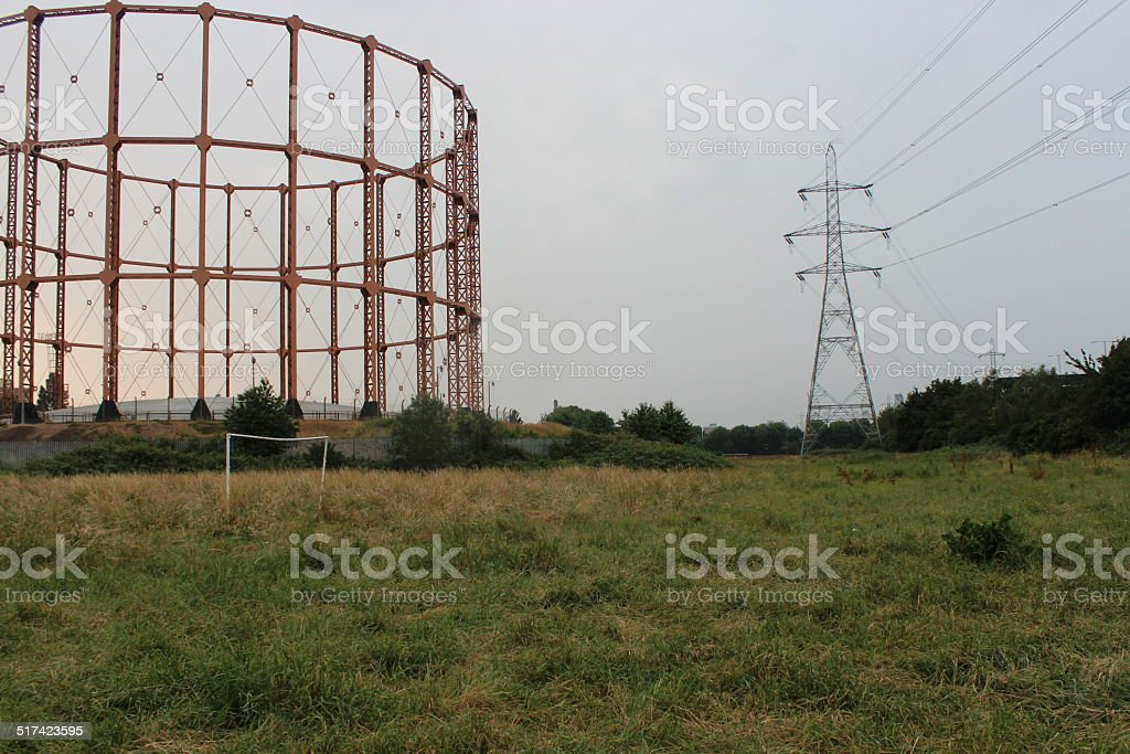 Derelict gas works and sports ground stock photo