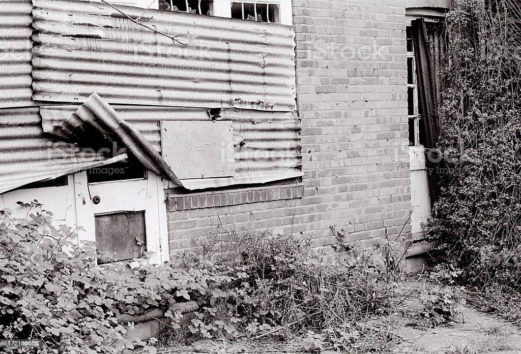 (B&W film) Derelict House royalty-free stock photo