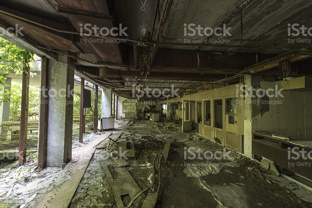 Derelict internal area of a building (Pripyat/Chernobyl) stock photo
