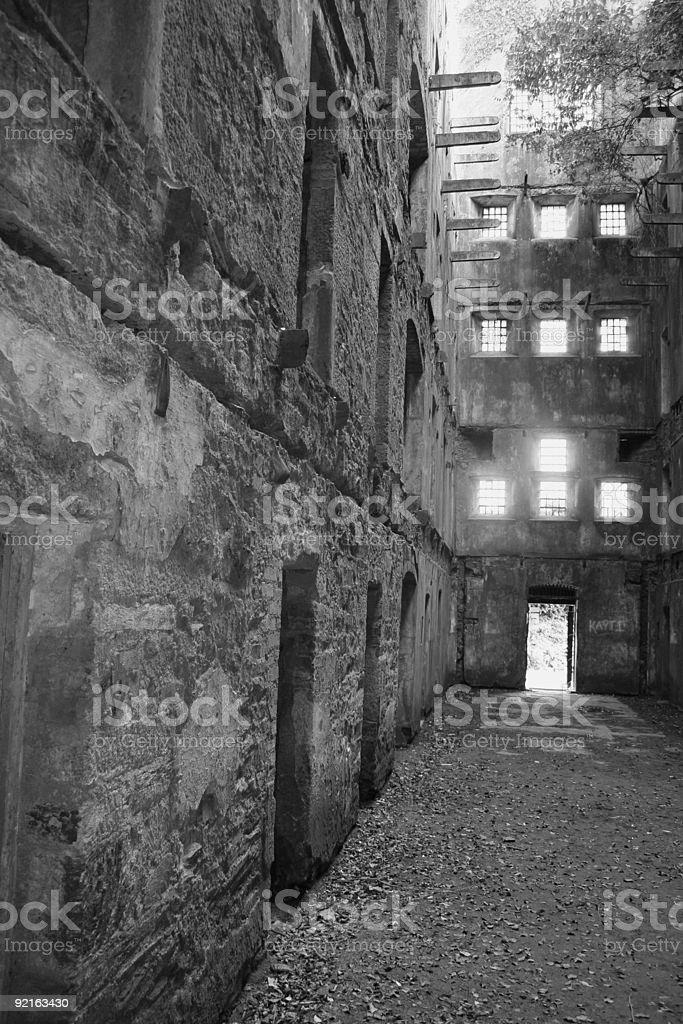 Derelict jail block - Black & White stock photo