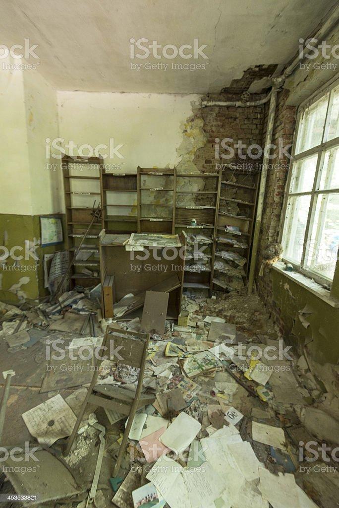 Derelict Kindergarten/school ruin, inside view, in Chernobyl royalty-free stock photo