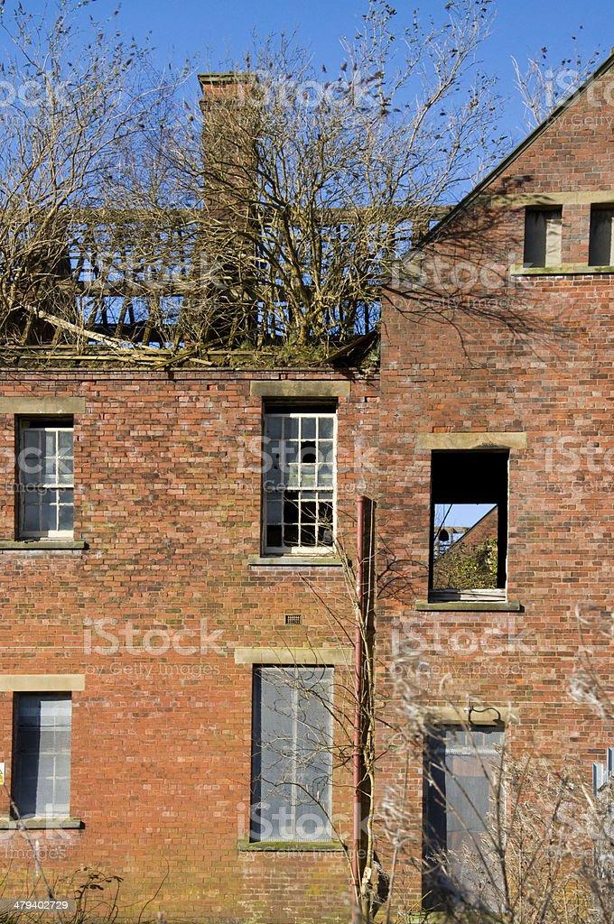 Derelict Mental hospital Building stock photo