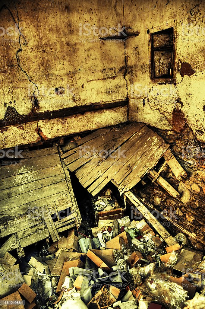 Derelict, Old, Dirty and Ruined Room royalty-free stock photo