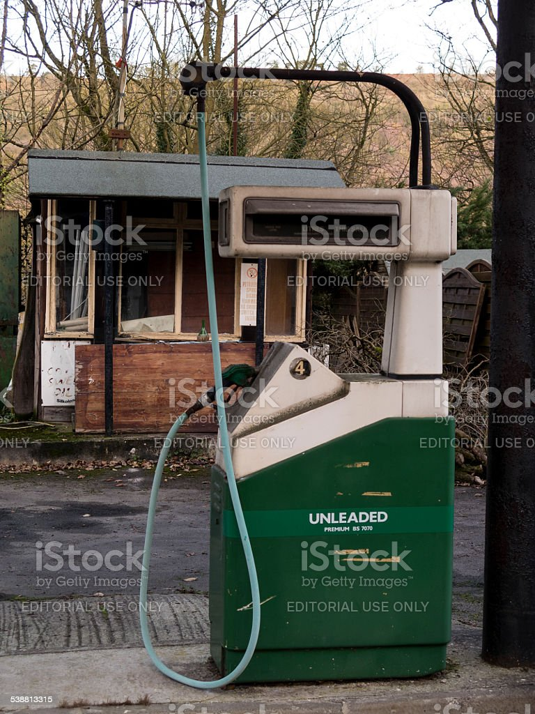 derelict petrol station on the A6 road stock photo