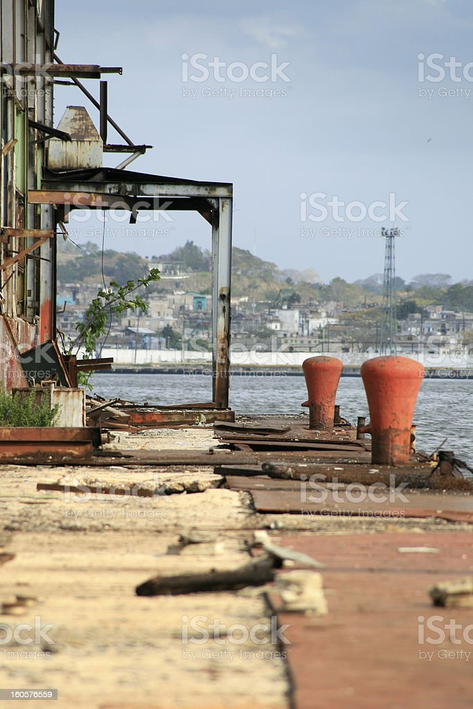 Derelict Port Area in Cuban City of Havana royalty-free stock photo