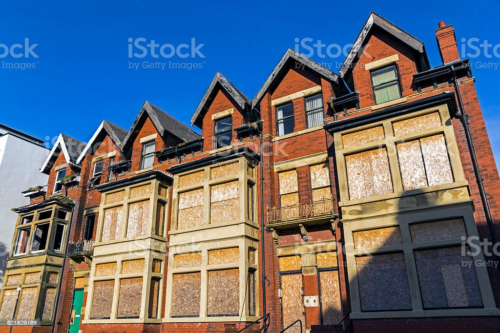 Derelict Property in Blackpool stock photo