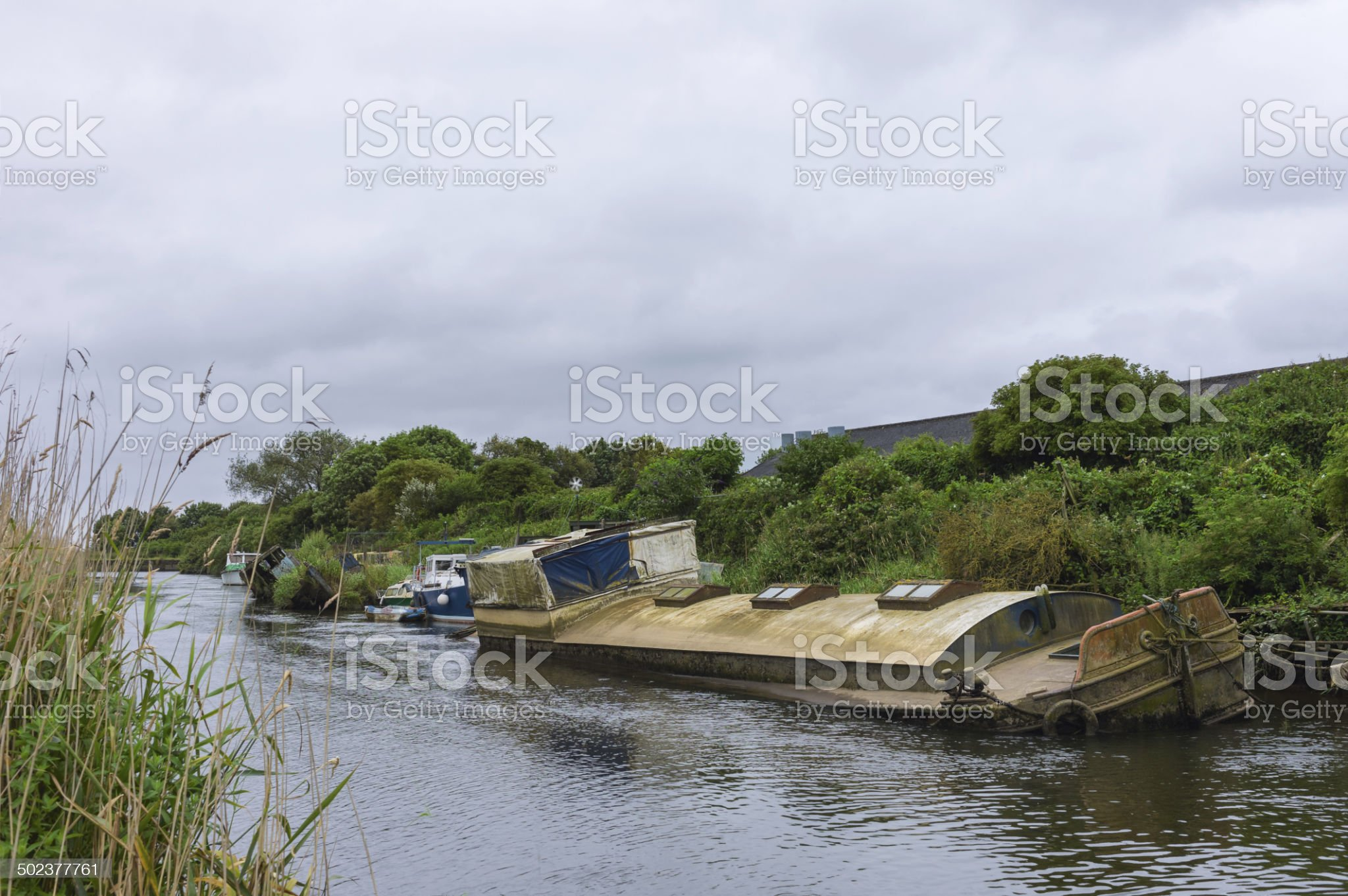 Derelict river boat, river Hull, Beverley, Yorkshire, UK. royalty-free stock photo