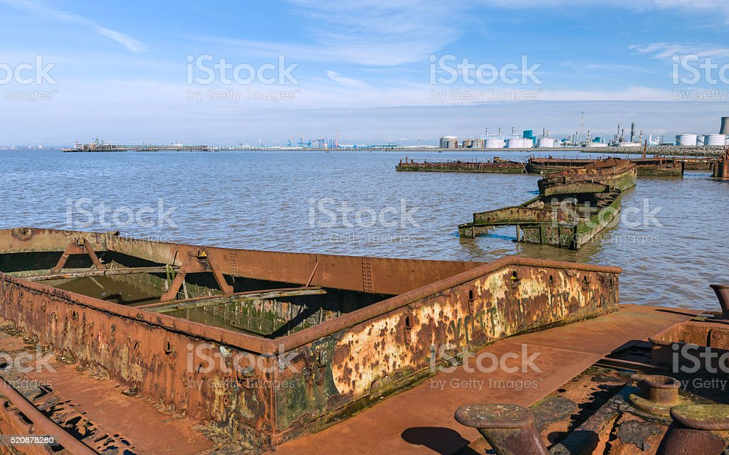 Derelict river boats in the Humber estuary, Paull, Yorkshire, UK. stock photo