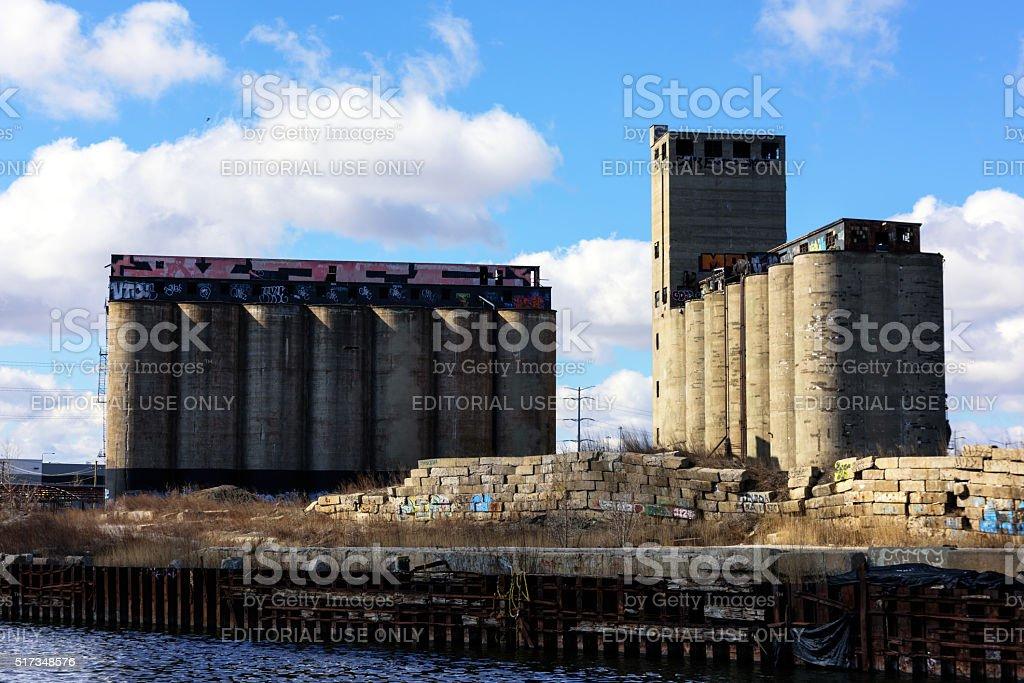 Derelict Santa Fe Grain Elevators, Chicago stock photo