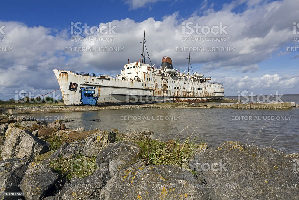 Derelict Ship North Wales stock photo