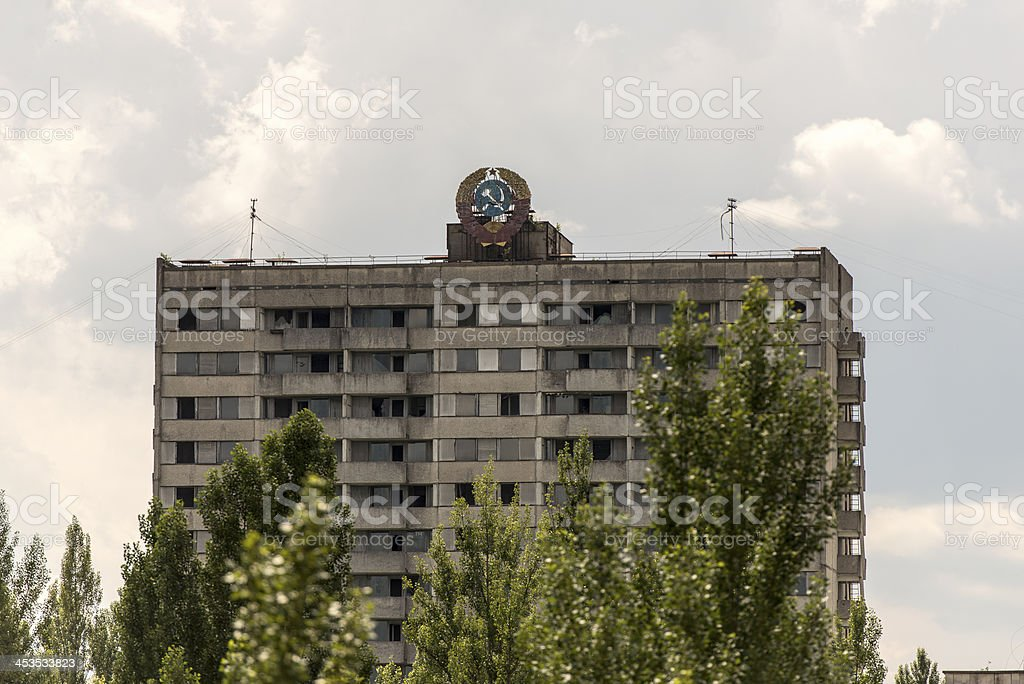 Derelict town scene - Hotel, Pripyat/Chernobyl royalty-free stock photo