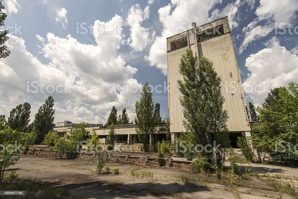 Derelict town scene with high rise building, Pripyat/Chernobyl royalty-free stock photo