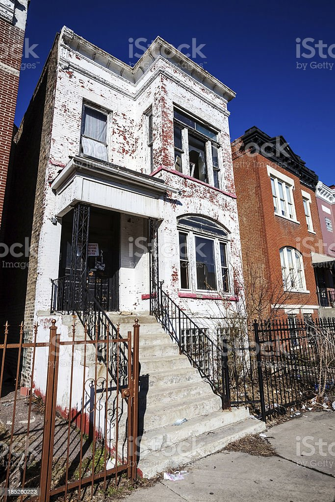 Derelict Victorian House in East Garfield Park, Chicago stock photo
