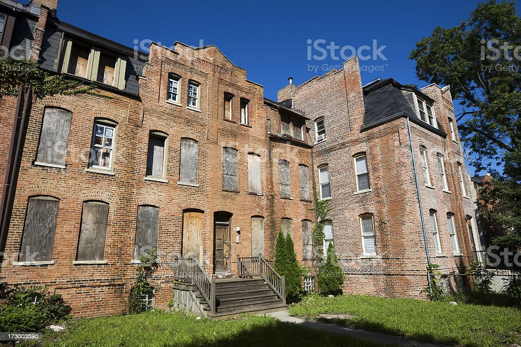 Derelict Victorian Houses in Pullman, Chicago stock photo