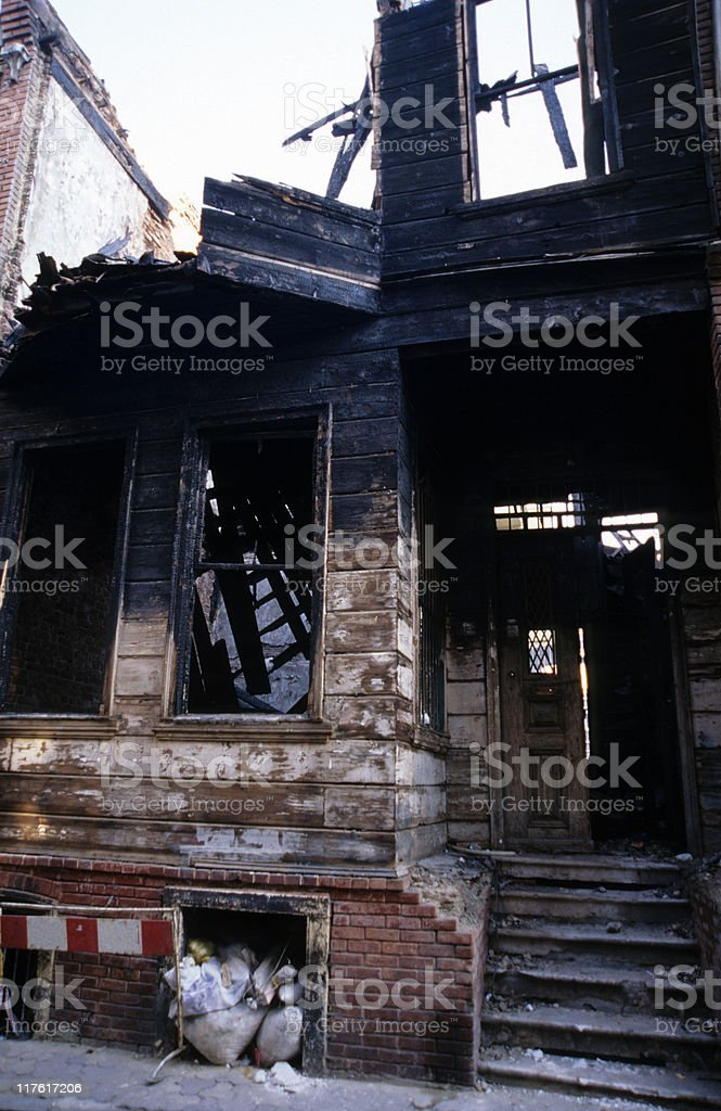 Derelict wooden house, Istanbul, Turkey royalty-free stock photo