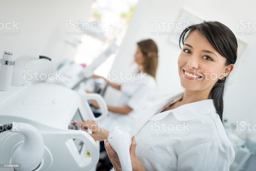 Dermatologist working at a spa stock photo